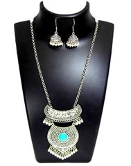 German Silver Jewellery Set- Turquoise Bead Pendant