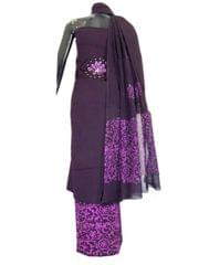 Cotton Batik Print Salwar Suit-Mauve&Dark Blue