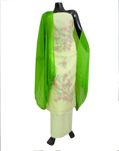 Cotton Shadow Work Salwar Suit- Lemon Yellow