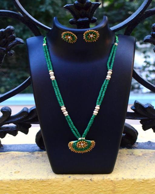 Paddy Grain Necklace Set-Green