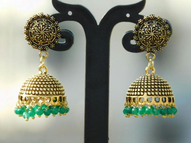 German Silver Gold Polish Flower Stud Jhumkas/Jhumkis- Green Beads