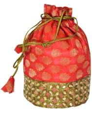 Embroidered Stone Work Potli-Red