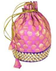 Embroidered Stone Work Potli-Pink&Blue