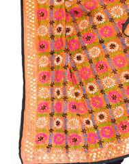 Phulkari Dupatta on Chanderi Fabric -Rust