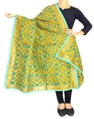 Phulkari Dupatta on Chanderi Fabric -Mustard Yellow