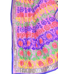 Phulkari Dupatta on Chanderi Fabric -Multicolor