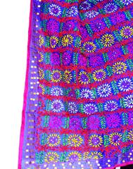 Phulkari Dupatta on Chanderi Fabric -Blue