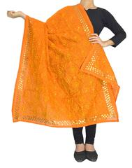 Phulkari Dupatta on Chanderi Fabric -Orange