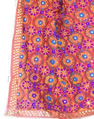 Phulkari Dupatta on Chanderi Fabric -Red