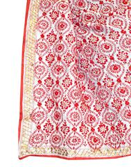 Phulkari Dupatta on Chanderi Fabric -Red&White
