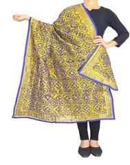 Phulkari Dupatta on Chanderi Fabric -Yellow&Blue
