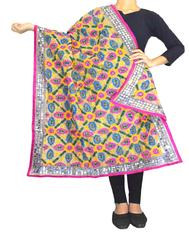 Phulkari Dupatta on Chanderi Fabric -Beige