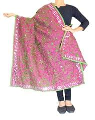 Phulkari Dupatta on Chanderi Fabric -Fuchsia&Green