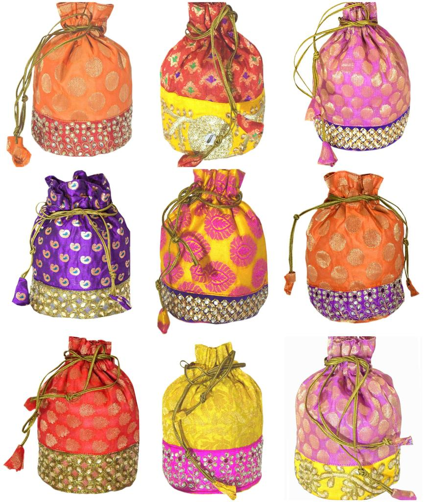 Set of 9 Brocade Stonework Pouch/Potli Bags