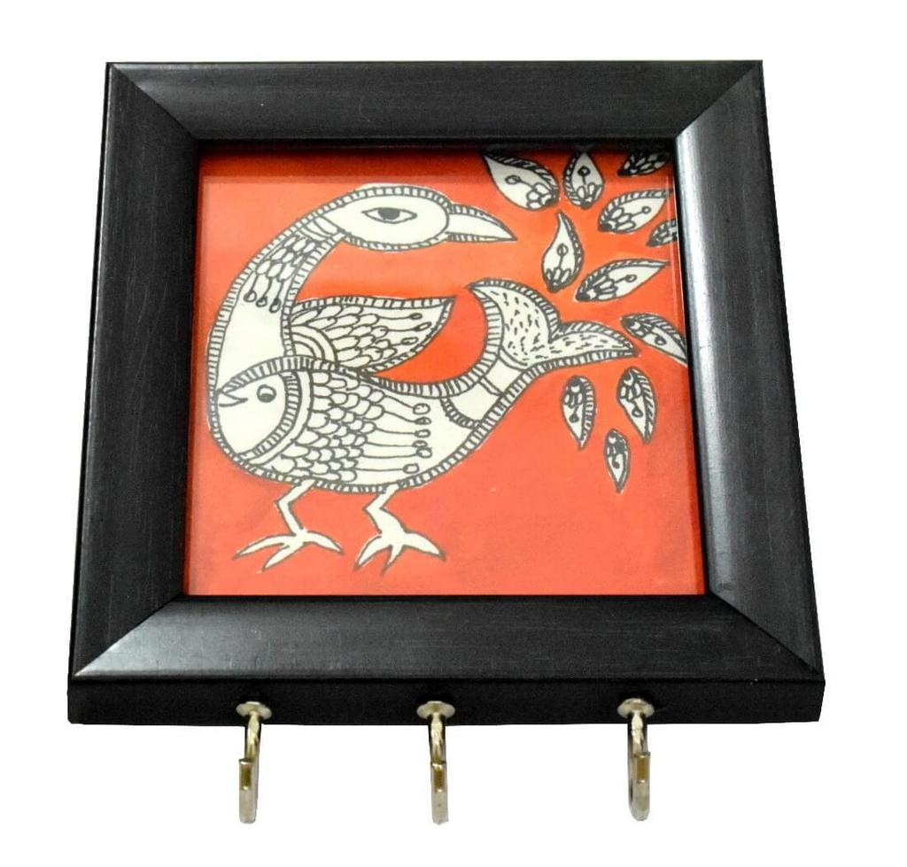 Wooden Key Holder with Handmade Madhubani Sketch- Pattern 2