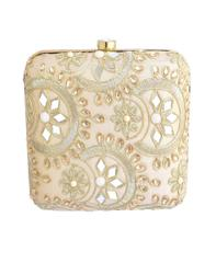 Square Box Clutch with Embroidery- Offwhite