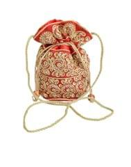 Potli Bag in Satin with Embroidery- Red
