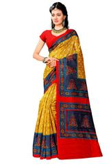 Art Silk Printed Saree- Yellow&Black