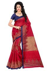 Cotton Silk Printed Saree- Red&Beige