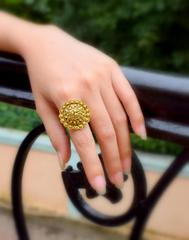 Finger Ring in Gold Oxidized Metal- Round Motif 7