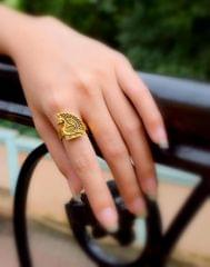 Finger Ring in Gold Oxidized Metal- Peacock Motif 3