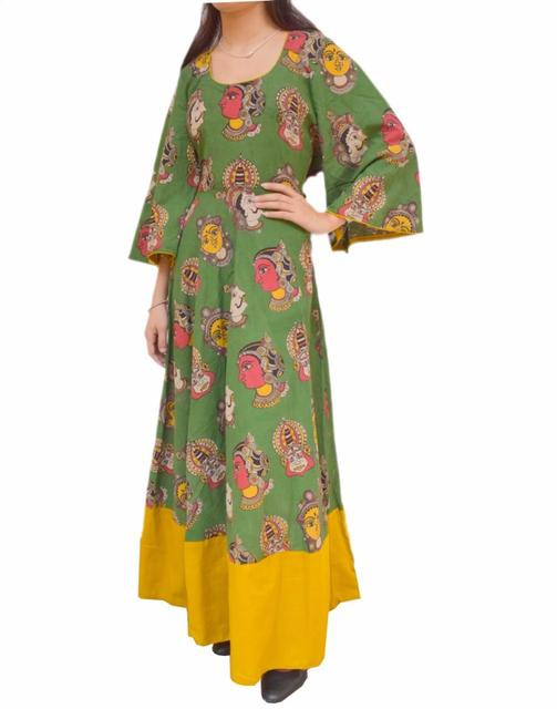 Cotton Dress/Kurta with Kalamkari Print- Green