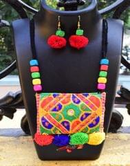 Kutchwork Necklace Set in Fabric- Pattern 7