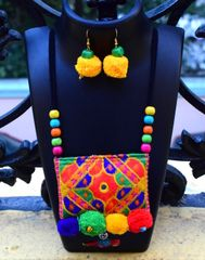 Kutchwork Necklace Set in Fabric- Pattern 9