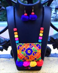 Kutchwork Necklace Set in Fabric- Pattern 10