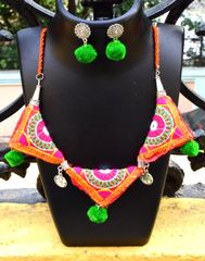Kutchwork Necklace Set in Fabric- Pattern 15