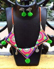 Kutchwork Necklace Set in Fabric- Pattern 16