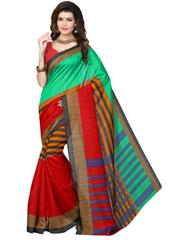 Cotton Silk Printed Saree-Multicolored