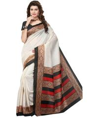 Cotton Silk Printed Saree-black&Beige-1