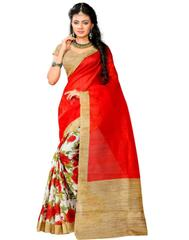 Cotton Silk Floral Printed Saree-Red&Cream
