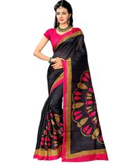 Cotton Silk Printed Saree-Black&Pink