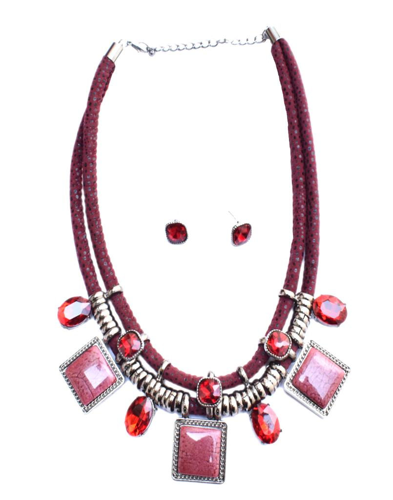 Double Strand Rhinestone & Resin Necklace Set- Red