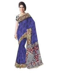 Kalamkari Saree in Cotton-Blue 2