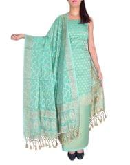 Benarasi Jamdani Brocade Suit in Silk-Cotton-Aquamarine