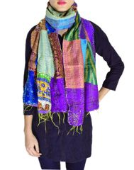 Reversible Patchwork Kantha Stole in Cotton Silk- Pattern 2