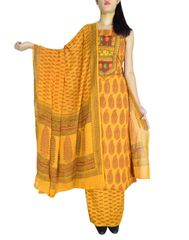 Bagh Print Unstitched Cotton Salwar Suit-Mustard Yellow