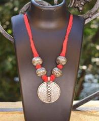 Threaded German Silver Necklace-Red