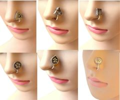 Oxidized Metal Nose Pin - Set of 6