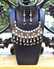 Oxidized Metal Jewellery Set-Black,White&Red Beads