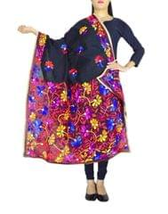 Chanderi Hand Embroidered Dupatta-Black