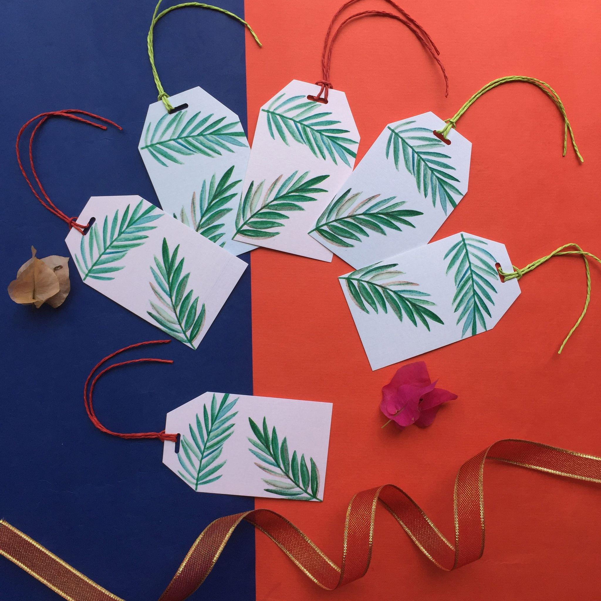 Tropical leaves gift tag set