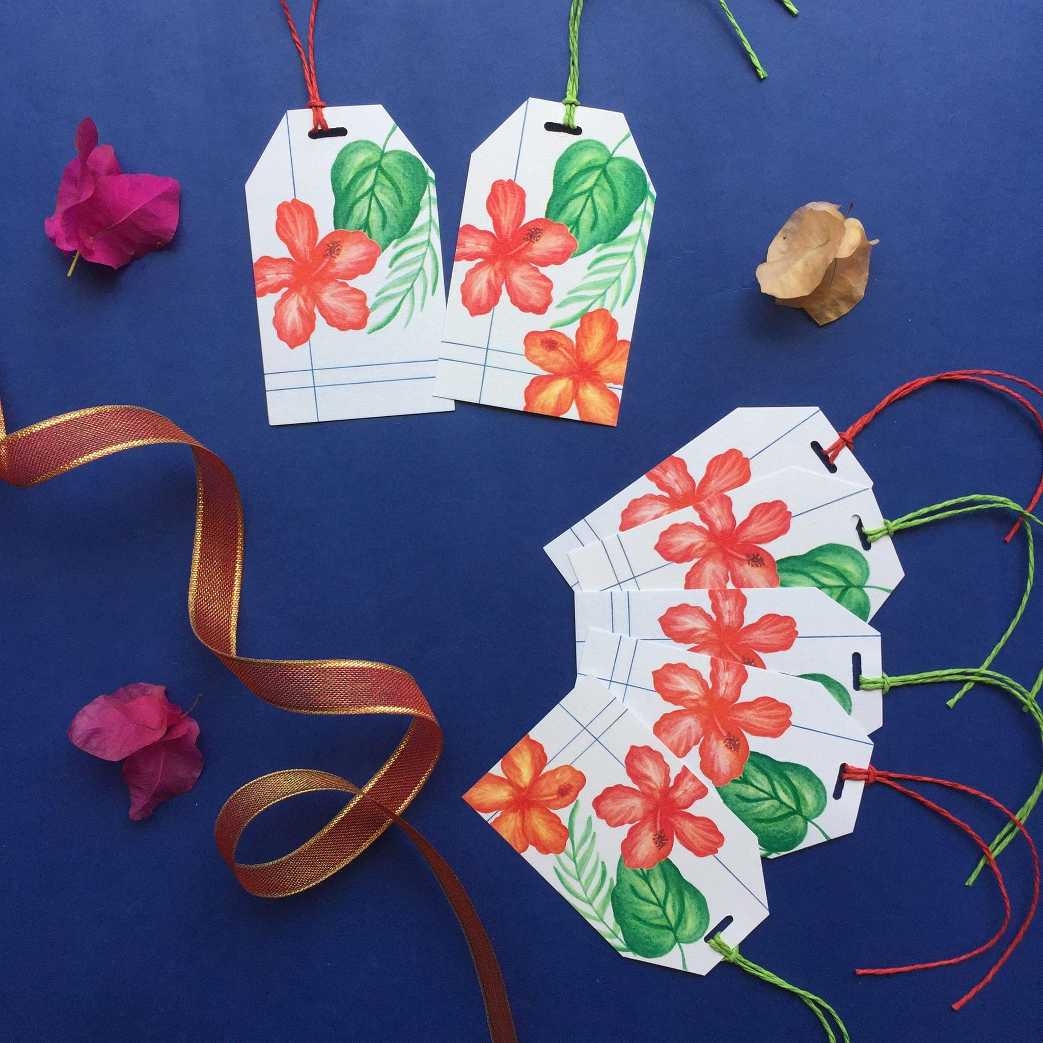 Hibiscus & leaves gift tag set