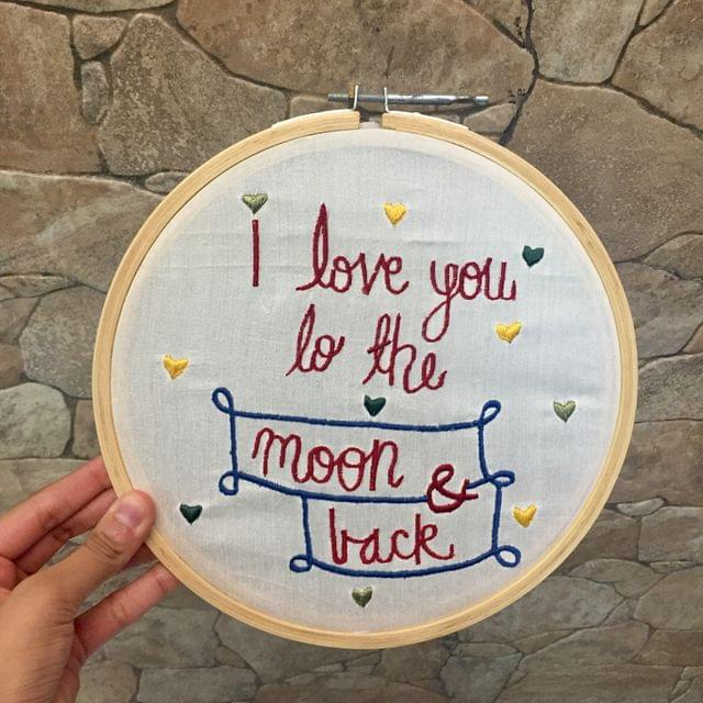 Love you to the moon & back' Hoop Art