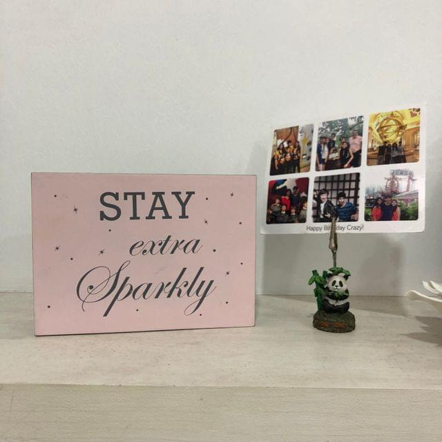 Stay Extra Sparkly Wooden Block