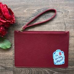 Solid-Coloured Wristlet Pouch - Maroon   Customize with a patch of your choice