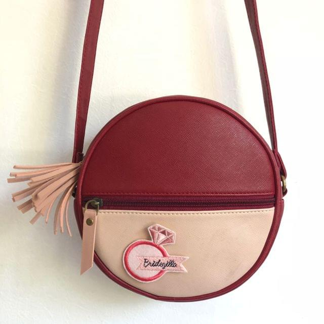 Prismatic Round Sling Bag with Patch - Maroon & Peach Pink